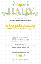 Branching Hearts Yellow Invitations