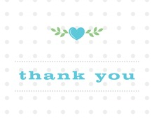 Branching Hearts in Blue Thank You Cards