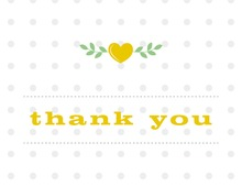 Branching Hearts in Yellow Thank You Cards