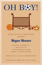 Sporty Boy Tan Kids Birthday Invitations
