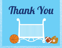 Sporty Boy Blue Thank You Cards