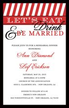 Red Stripe Reception Invitations