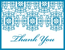 Wrought Pattern Blue Monogram Thank You Cards