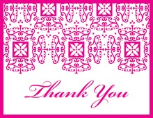 Wrought Pattern Hot Pink Monogram Thank You Cards