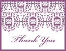 Wrought Pattern Purple Monogram Thank You Cards