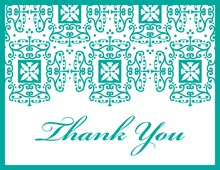Wrought Pattern Teal Monogram Thank You Cards