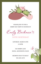 Elegant Pink Beauty Hat Fancy Accent Invitations
