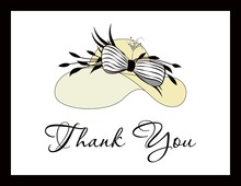 Elegant Creme Hat Thank You Cards
