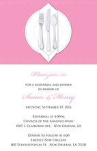 Dinner Party Pink Tablecloth Rehearsal Invitations