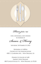 Dinner Party Tan Tablecloth Rehearsal Invitations