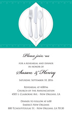 Dinner Party Teal Table Cloth Rehearsal Invitations