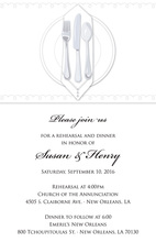 Dinner Party White Tablecloth Rehearsal Invitations