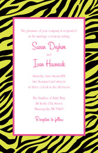Zebra Print Over Green Invitations