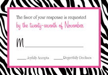 Zebra Print Over White RSVP Cards