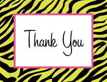 Zebra Print Over Green Thank You Cards