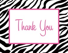 Zebra Print Over White Thank You Cards