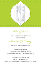 Dinner Party Green Table Cloth Rehearsal Invitations