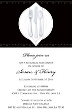Dinner Party Black Tablecloth Rehearsal Invitations