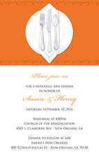 Dinner Party Orange Tablecloth Rehearsal Invitations