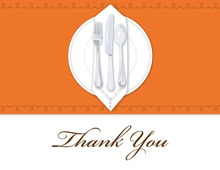Dinner Party Orange Tablecloth Thank You Cards