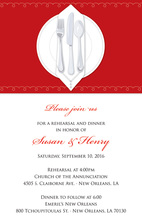 Dinner Party Red Tablecloth Rehearsal Invitations