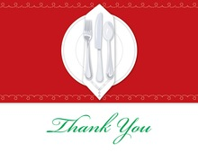 Dinner Party Red Tablecloth Thank You Cards