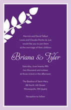 Modern Silhouette Branch Violet Party Invitations