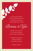 Modern Silhouette Branch Red Holiday Invitations