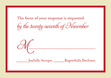 Red Crme Border RSVP Cards