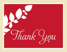 Modern Branch Red Thank You Cards