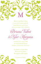 Mirrored Lime Hearts Trendy Flourish Invitations
