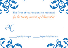Mirrored Blue Hearts Flourish RSVP Cards