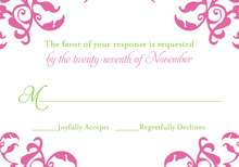 Mirrored Pink Hearts Flourish RSVP Cards