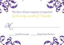 Mirrored Purple Hearts Flourish RSVP Cards