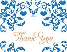 Mirrored Blue Hearts Flourish Thank You Cards