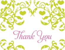 Mirrored Lime Hearts Flourish Thank You Cards