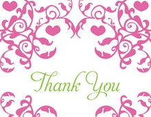Mirrored Pink Hearts Flourish Thank You Cards