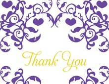 Mirrored Purple Hearts Flourish Thank You Cards