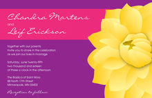 Yellow Beautiful Dahlia In Hot Pink Purple Invitations