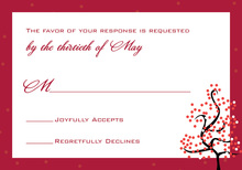 Dotty Red Tree RSVP Cards