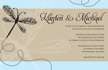 Playful Dragonfly Classic Blue Party Invitations