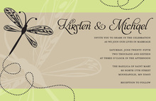 Playful Dragonfly Simply Subtle Green Invitations