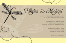 Playful Dragonfly Fantasy Yellow Invitations