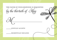 Playful Dragonfly Green RSVP Cards