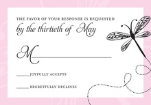 Playful Dragonfly Pink RSVP Cards