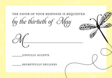 Playful Dragonfly Yellow RSVP Cards