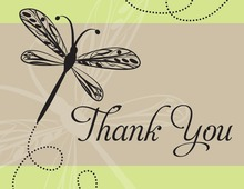 Playful Dragonfly Green Thank You Cards