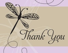 Playful Dragonfly Lavender Thank You Cards