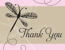 Playful Dragonfly Pink Thank You Cards