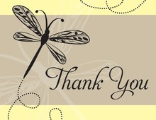 Playful Dragonfly Yellow Thank You Cards